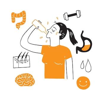 Concept van de voordelen van drinkwater. vrouw drinkwater. hand tekenen vectorillustratie