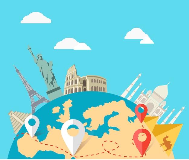 Concept van de world adventure travel