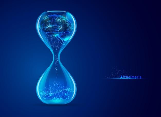 Concept van de ziekte van alzheimer, afbeelding van zandloper met hersenen en futuristisch element binnen