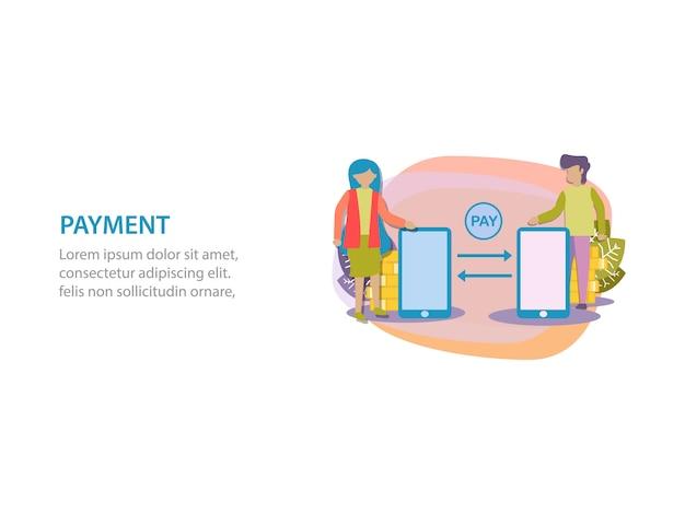 Concept van digitale betaling achtergrondontwerp voor webpagina