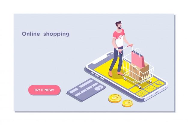 Concept van e-commerce verkoop, online winkelen
