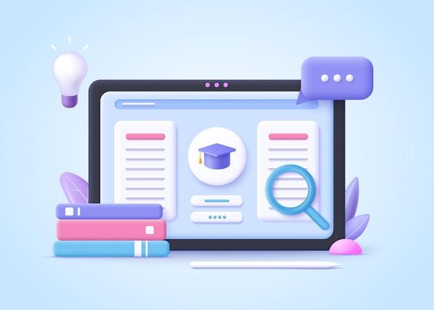 Concept van e-learning, online onderwijs thuis. 3d-realistische vectorillustratie.