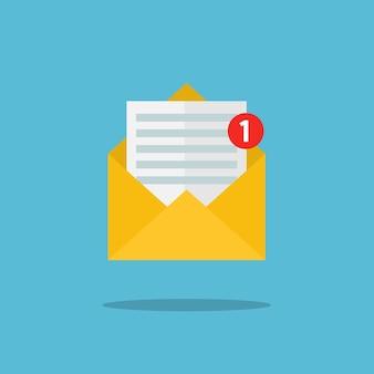Concept van e-mailmeldingspictogram. brief in gele omslag. platte ontwerp, vectorillustratie.
