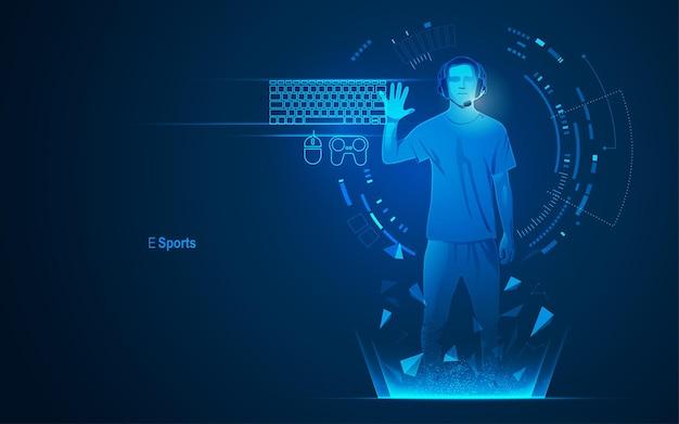 Concept van e-sporttechnologie, grafisch van een tiener als gamer met futuristisch element