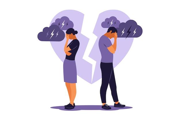 Concept van echtscheiding, misverstand in familie. onenigheid, relatieproblemen. man en vrouw in een ruzie. conflicten tussen man en vrouw. vector. vlak