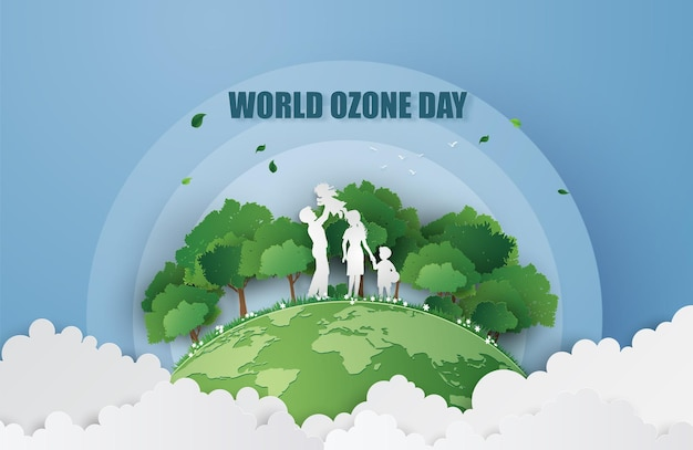 Concept van eco en wereld ozon dag, papier knippen stijl.