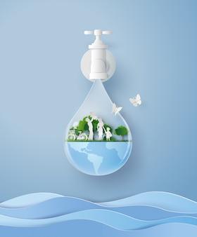 Concept van eco en wolrd water dag met familie in de tuin. papier kunst en ambachtelijke stijl