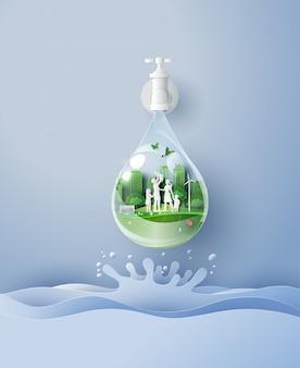 Concept van eco en wolrd water dag met familie