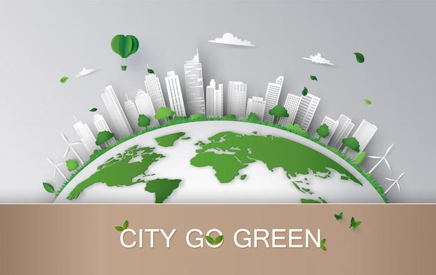 Concept van eco met de bouw en natuur.paper art-stijl.