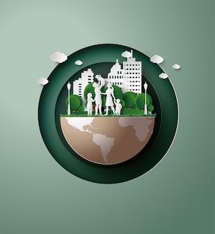 Concept van eco met familie.papier gesneden stijl