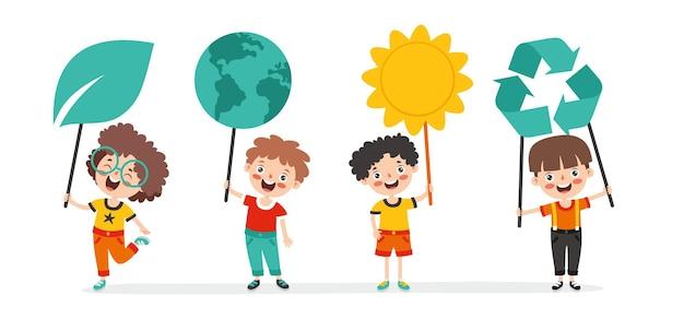Concept van ecologie en duurzaamheid met tekenfilmkinderen