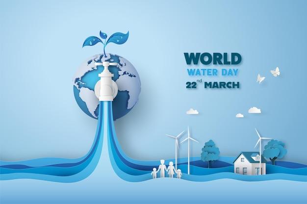 Concept van ecologie en wereldwaterdag. papierkunst, papier knippen, papiercollagestijl met digitaal handwerk.