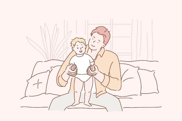 Concept van familie, vaderschap, liefde.