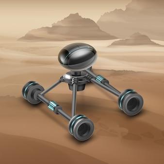 Concept van fictief mars-rovervoertuig met woestijn op achtergrond