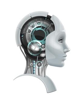 Concept van fictief vrouwelijk cyborghoofd in profiel