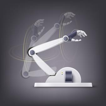 Concept van fictieve antropomorfe robotachtige hand geïsoleerd op donkere achtergrond
