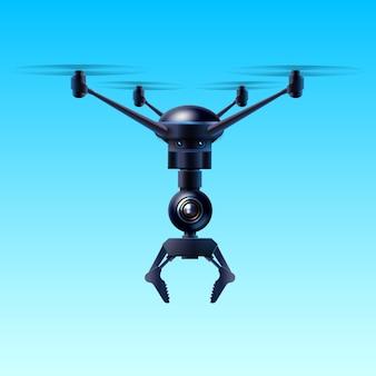 Concept van fictieve quadcopter vliegende drone met klauw geïsoleerd op blauwe achtergrond