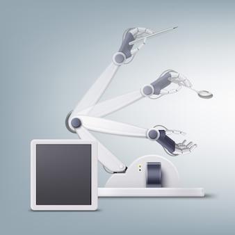 Concept van fictieve robotachtige hand met pen en lepel geïsoleerd op lichte achtergrond