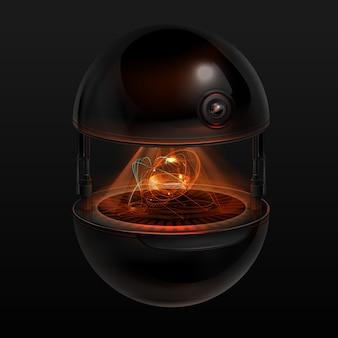 Concept van fictieve sferische drone-assistent met oranje lichtgevende interface