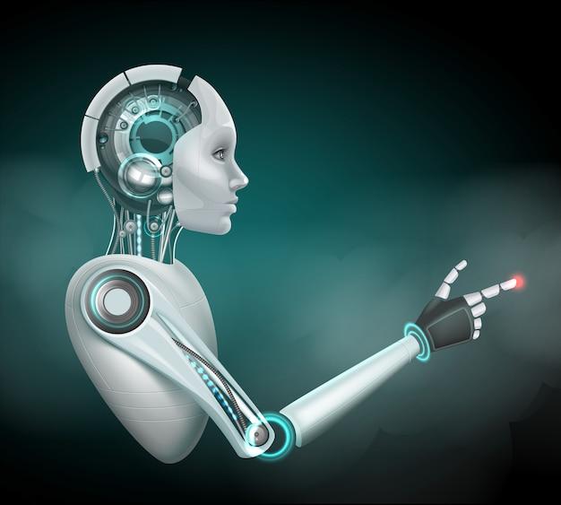 Concept van fictieve vrouwelijke cyborg in profiel