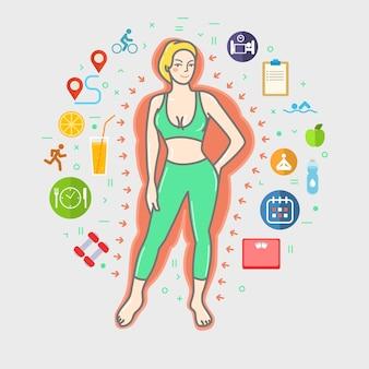 Concept van fitness meisje in lijn kunst illustratie