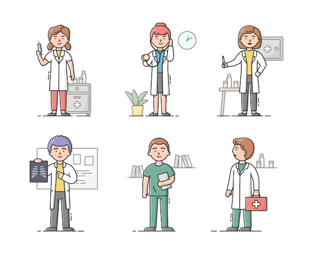 Concept van gezondheidszorg en geneeskunde. team van artsen in witte jassen mannen en vrouwen op het werk. aantal mensen klaar om patiënten te raadplegen en te behandelen.