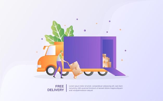 Concept van gratis levering. online bezorgserviceconcept, online ordertracering.