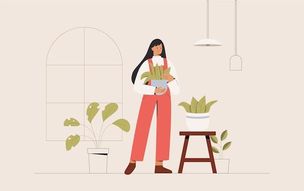 Concept van groeiende en zorgzame kamerplanten
