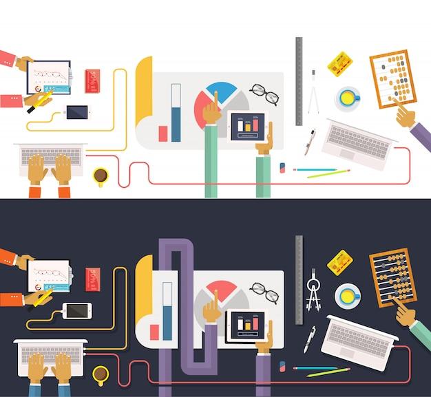 Concept van het bedrijfsleven. gegevensverzameling. analyse