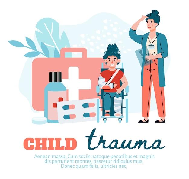 Concept van het behandelen van trauma of letsel bij kinderen