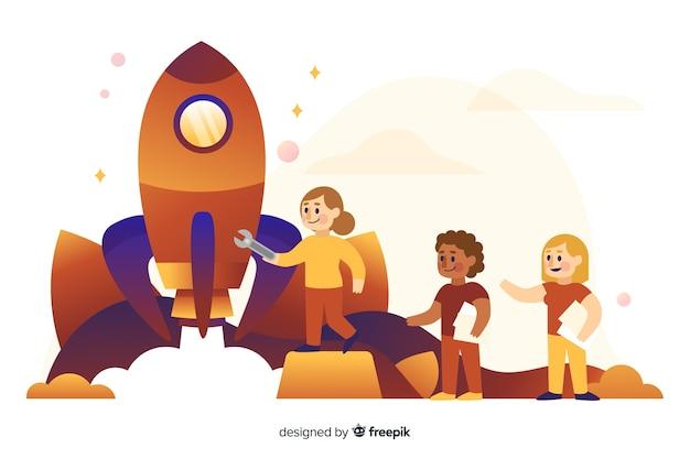 Concept van het bouwen van een raket