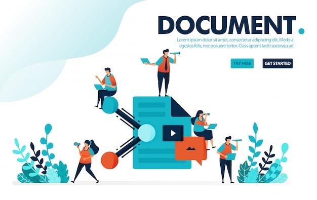 Concept van het delen van documenten, samenwerking tussen mensen en delen van werkdocumenten en papierwerk.