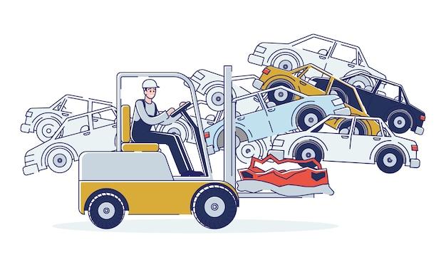 Concept van het gebruik van voertuigen. man werkt op autokerkhof en sorteert oude gebruikte auto's en stapels beschadigde auto's.