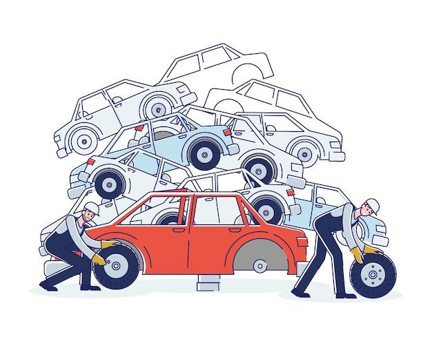 Concept van het gebruik van voertuigen. tekens werken op autokerkhof en sorteren oude gebruikte auto's en stapels beschadigde auto's. personages die auto's demonteren.