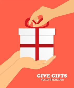 Concept van het geven van geschenken. geschenk in de hand.