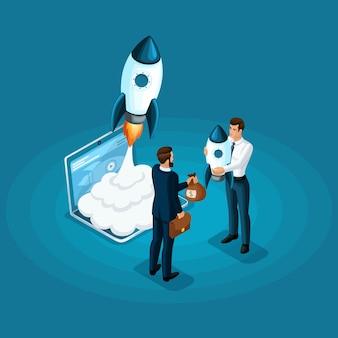 Concept van het investeren van geld voor de ontwikkeling van ico startup, raketlancering. zakelijke bijeenkomst zakelijke bijeenkomst