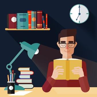 Concept van het lezen van boeken. man leesboek thuis