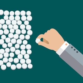 Concept van het nemen van pillen. hand met witte medische pillen. plat ontwerp