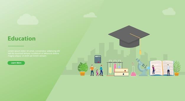 Concept van het onderwijs het grote woord met mensenstudent voor websitemalplaatje of het landen homepage