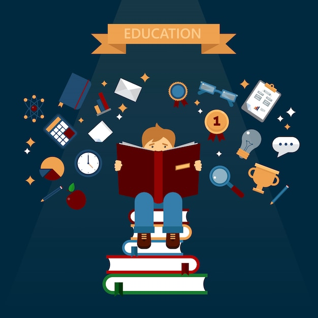 Concept van het onderwijs met het lezen van boeken