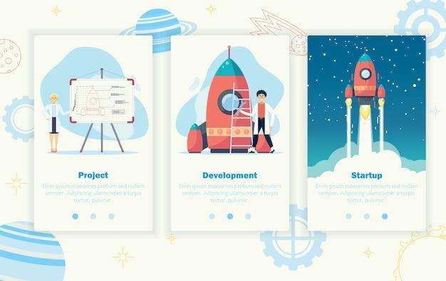 Concept van het opstarten van bedrijven. lanceer een rode raket de ruimte in. ontwikkeling van het bedrijf