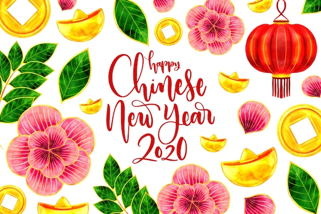 Concept van het waterverf het chinese nieuwe jaar