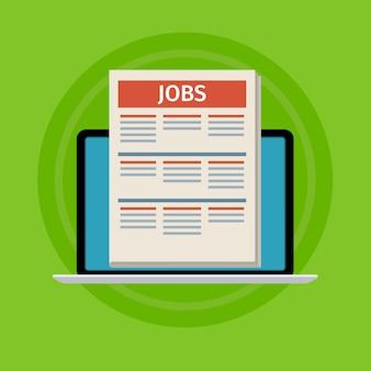 Concept van het zoeken naar een baan. laptop met krant op scherm.