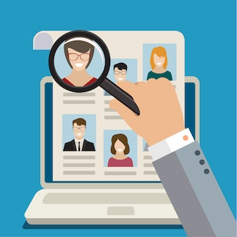 Concept van het zoeken naar professionele dingen, baan als headhunter, werkgelegenheidskwestie, personeelsbeheer of het analyseren van personeelscv.