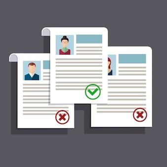 Concept van het zoeken van professionele medewerkers, het analyseren van personeels hervatten, werving, personeelsbeheer, werk van hr. plat ontwerp.