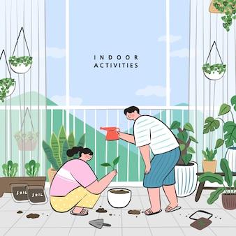 Concept van hobby-ideeën die thuis kunnen doen. verblijf thuis concept serie. het verzorgen van kamerplanten die groeien in potten of plantenbakken.