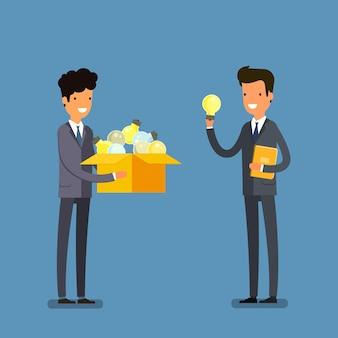 Concept van idee. twee zakenmannen met doos en gloeilamp. platte ontwerp, vectorillustratie.