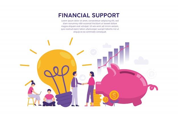 Concept van illustratie van een idee-eigenaar ontmoet een investeerder die kapitaal bezit