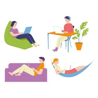 Concept van illustratie van het werk vormt van freelancers die vrij werken