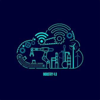 Concept van industrie 4.0-technologie, automatiseringssysteem met cloud computing